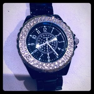Accessories - Black bling watch